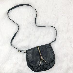 Handbags - Black Vegan Leather Crossbody Bag {A}